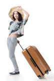Exciting Asian woman drag a luggage. Full length portrait isolated on white background Royalty Free Stock Photography
