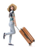 Exciting Asian woman drag a luggage. Full length portrait isolated on white background Stock Image
