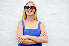 Exciting beautiful young woman watching movie with 3D glasses, joyful looking forward. portrait closeup Royalty Free Stock Image