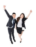 Exciting business man and woman royalty free stock photography