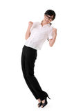 Exciting business woman. Raising hand, full length portrait isolated on white Royalty Free Stock Photo
