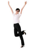 Exciting business woman. Raising hand, full length portrait isolated on white Stock Image