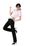 Exciting business woman. Raising hand, full length portrait isolated on white Royalty Free Stock Photos