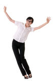Exciting business woman. Raising hand, full length portrait isolated on white Stock Photography