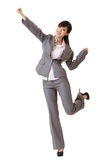 Exciting business woman. Raising hand, full length portrait isolated on white Royalty Free Stock Photography
