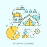 Exciting camping concept Stock Images