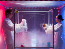 Exciting chemistry in sterile chamber Royalty Free Stock Photography