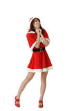 Exciting Christmas woman praying Royalty Free Stock Photography