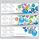 Exciting and colorful globe calendar. For 2017 Royalty Free Stock Photo