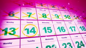 Winter Holidays Calendar Dates. Exciting 3d illustration of the pink calendar put askew with double crossed dates and white snowflakes. The 14st of January is Stock Photo