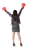 Exciting gloved business woman. On white background Stock Photos