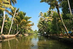 Exciting journey through the backwaters of Kerela. India Stock Images