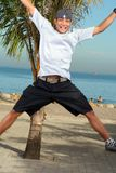 Exciting man. With beach at background Royalty Free Stock Photo
