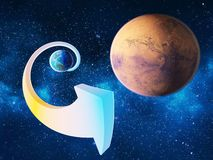 An exciting mission to Mars. Flight specified by an arrow from the earth to Mars on a starry sky background. 3D render royalty free illustration