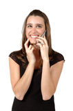 Exciting News. Woman is really happy with the news she is getting on her cell phone Stock Photography