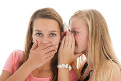 Exciting news. Teen girls are whispering gossip to each other Stock Photos