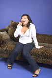 Exciting phone call Royalty Free Stock Photo