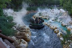 Grizzly River Rafting Disney California Adventure. Exciting ride at Disneyland`s California Adventure in Anaheim, California. This free-floating river raft ride Royalty Free Stock Image
