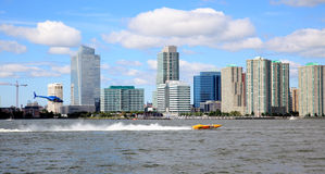 The exciting speed boat racing on Hudson River. Manhattan, NY - Sept 13: The exciting speed boat racing on Hudson River during NY400 - Holland on the Hudson Royalty Free Stock Images