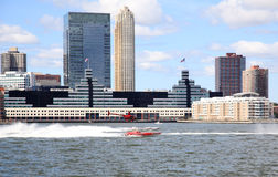 The exciting speed boat racing on Hudson River. Manhattan, NY - Sept 13: The exciting speed boat racing on Hudson River during NY400 - Holland on the Hudson Royalty Free Stock Photography