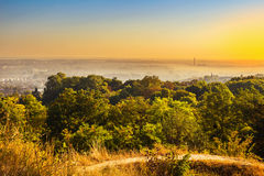Exciting sunrise over fogged city and park, aerial view, Lviv. Exciting colorful sunrise over fogged morning city and park, aerial view. Lviv, Ukraine Royalty Free Stock Photos