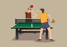 Exciting Table tennis Match Vector Illustration Royalty Free Stock Photo
