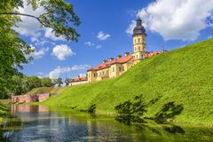 Exciting Tourist Destinations.Backside of  Renowned Nesvizh Castle. As an Example of Medieval Ages Heritage and Residence of the Radziwill Family.Horizontal Stock Photography