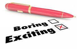 Exciting Vs Boring Fun Choice Pen Check Mark Box. 3d Illustration Royalty Free Stock Photos