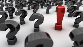 Exclamación roja Mark Black Questions Imágenes de archivo libres de regalías