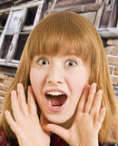 Exclamation. Young woman posing an exclamation Royalty Free Stock Images