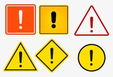 Exclamation danger sign icons on white background Vector illustration. Exclamation danger sign Vector illustration stock illustration