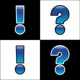 Exclamation and interrogation. Blue exclamation and interrogation signs Stock Photography