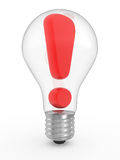 Exclamation in a lightbulb Stock Image