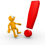 Exclamation Mark. Character surprised by an exclamation mark Royalty Free Stock Photo