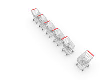 Exclamation mark. The trading carts located under the form of an exclamation mark royalty free illustration