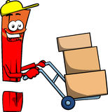 Exclamation mark as delivery man Stock Images