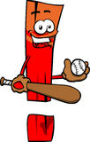 Exclamation mark baseball batter Royalty Free Stock Photography