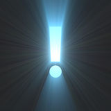 Exclamation mark bright light flare Stock Photo