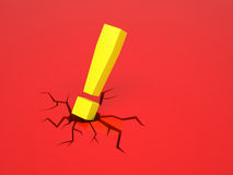 Exclamation mark causes a crack on red surface Stock Photos