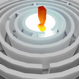 Exclamation mark. In the center of the maze Stock Photos