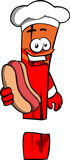 Exclamation mark chef with hot dog Stock Photo