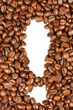 Exclamation mark and coffee beans Royalty Free Stock Photo