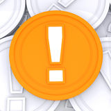 Exclamation Mark Coin Means Surprise Or Warning Stock Image