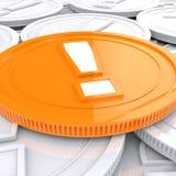 Exclamation Mark Coin Shows Financial Shock Photo libre de droits