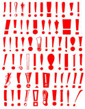 Exclamation Mark Collection. Sixty-five red exclamation marks in different styles royalty free illustration