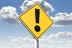 EXCLAMATION MARK - conceptual roadsign... Royalty Free Stock Image