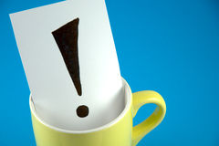 An exclamation mark on the cup Stock Image