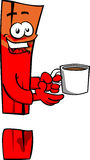 Exclamation mark with a cup of coffee Stock Image