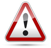 Exclamation mark danger triangle traffic board. Exclamation mark danger sign with black border, reflection and shadow on white background Royalty Free Stock Image