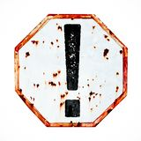 Exclamation mark danger warning sign grungy white and red old rusty road traffic sign texture background. stock photo